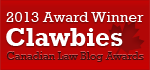 2013 Canadian Law Blog Awards Winner align=