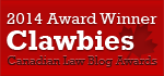 2014 Canadian Law Blog Awards Winner